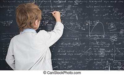 Composite image of cute pupil writing on board - Cute pupil...