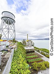 Alcatraz Garden & Water Tower, San Francisco, California -...