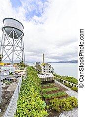 Alcatraz Garden and Water Tower, San Francisco, California -...