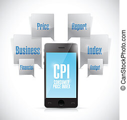 consumer price index phone concept illustration design over...
