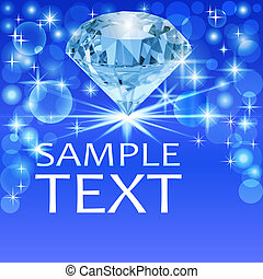 background with bright shiny diamond and place for text