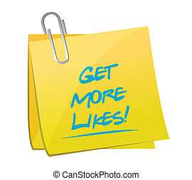 get more likes post memo illustration design over a white...