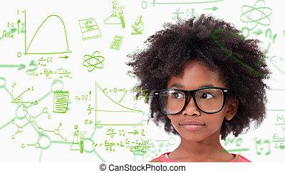 Llevando, lindo, compuesto, imagen, alumno, anteojos