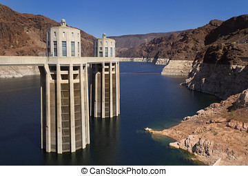Hoover Dam Intake Towers - Two of the Hoover Dam intake...