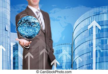 affari, uomo, presa, Terra, nuovo, casa, mondo, fondale
