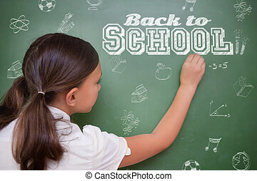Composite image of back to school message against cute pupil...