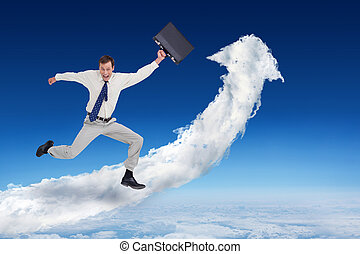 Composite image of cheerful jumping businessman with his suitcas