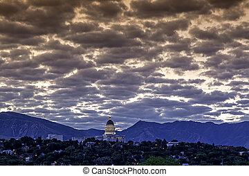 Clouds over the capital in Salt Lake City Utah - Utah state...