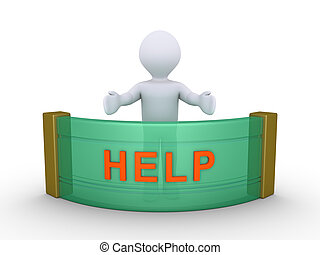 Person is providing help - 3d person behind a counter with...
