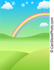 rainbow - Green grass field and mountain with rainbow in the...