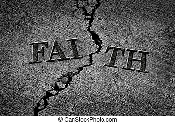 Broken Faith with Cracked Cement - Detail Illustration of...