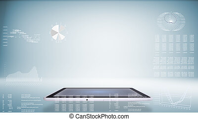 Tablet pc and high-tech graphs - Tablet pc. On background of...
