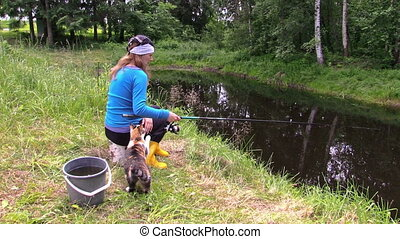 girl fishing at pond and play with