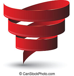 Red ribbon twist Vetor illustration