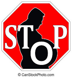 Stop obesity - Concept sign to reduce weight or change food...