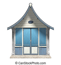 Beach Hut - 3D digital render of a wooden beach hut isolated...