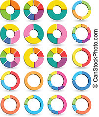 Set of Different arrow circles isol