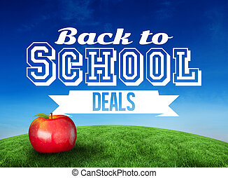 Composite image of red apple with back to school message -...