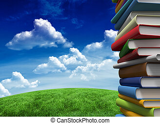 Composite image of pile of books - Pile of books against...