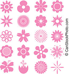 Set of Vector Flowers Can use for printing and website Funny...
