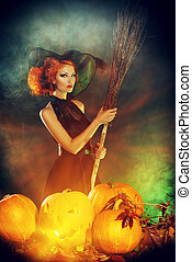 sorcery - Beautiful red-haired witch casts a spell over...