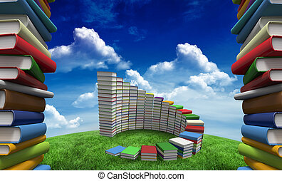 Composite image of pile of books