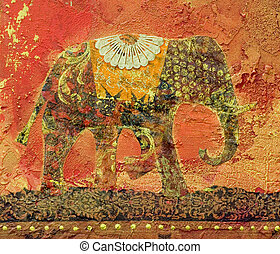 Elephant Collage - Elephant collage painting, artwork is...