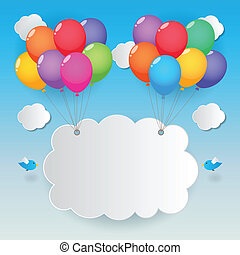balloon sky background - balloons cloud and birds on sunny...