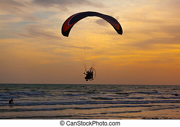 Paramotor, Vôo, sobre, mar