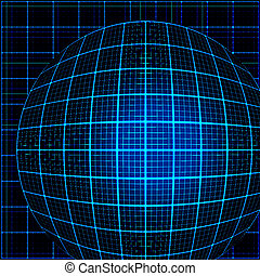 Blue rays light 3D mosaic. EPS 10 vector file included
