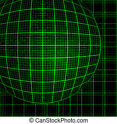 Green rays light 3D mosaic. EPS 10 vector file included