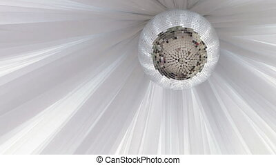 Mirror disco ball - On a background of white cloth mirror...