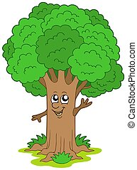Cartoon tree character - isolated illustration.