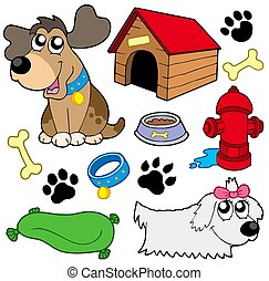 Dog pictures collection - isolated illustration.