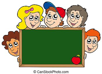 School blackboard with children - isolated illustration.