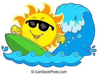 Surfing Sun on white background - isolated illustration.