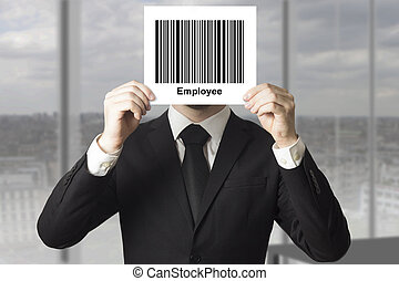 businessman hiding face behind sign barcode employee -...