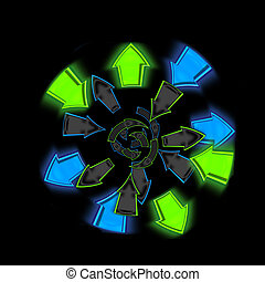 Circle of Colorful Arrows