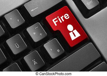 red keyboard button fire employee dismissal - red keyboard...