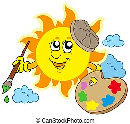 Sun artist on white background - isolated illustration.