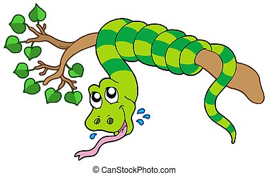 Snake on leafy branch - isolated illustration.