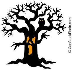 Spooky tree silhouette - isolated illustration.