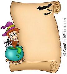 Halloween parchment 3 - color illustration.