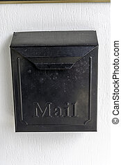 Black mailbox with a lid