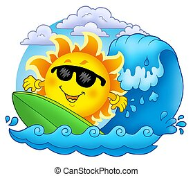 Surfing Sun with clouds - color illustration.