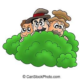 dessin animé, voleurs, derrière, buisson