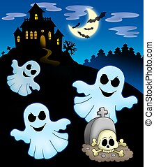 Ghosts with haunted house - color illustration.