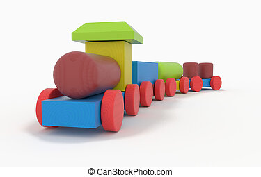 Wooden Toy Train - children's toy - wooden Toy Train with...