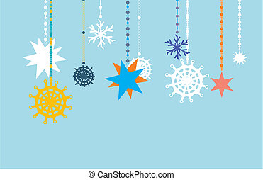 Snowflake Vectors. - Abstract christmas background, colour...