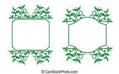 Floral Frames Set - Plant sprouts frame decoration -...